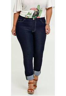 Calça Jeans Skinny Feminina Barra Dobrada Plus Size Razon