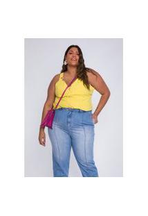 Blusa Plus Size Feminina Predilects De Alça Com Botões Amarela