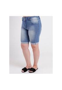 Bermuda Jeans Amuage Plus Size Feminina Azul