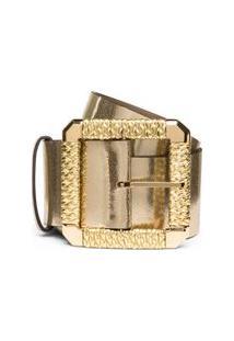 Cinto Cintura Largo Detalhe Fivela Branco/Dourado