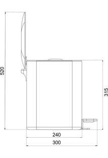 Lixeira 9 Litros Retangular Ghelplus Moderna Preta