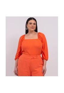 Blusa Lisa Com Decote Quadrado Curve & Plus Size | Ashua Curve E Plus Size | Laranja | Gg