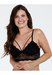 Sutiã Feminino Top Strappy Renda Marisa