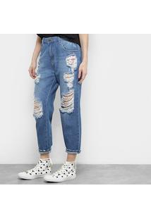 Calça Jeans Coca-Cola Girlfriend Feminina - Feminino-Azul Royal