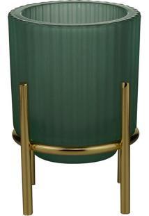 Castiçal Vidro Royal 9X11Cm Verde