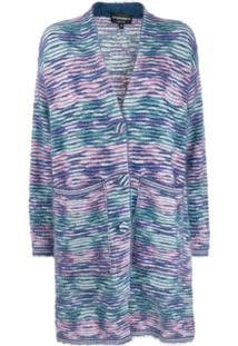 Emporio Armani Striped Pattern Single Breasted Coat - Azul