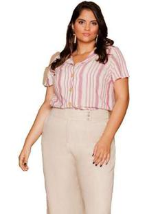 Camisa Almaria Plus Size Pianeta Listrada Rosa Rosa