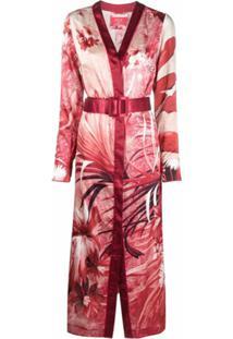 F.R.S For Restless Sleepers Vestido Midi Com Cinto E Estampa Floral - Vermelho