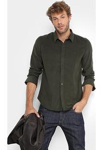 Camisa Ellus Regular Fit Veludo Cotelê Poá Masculina - Masculino-Verde Militar