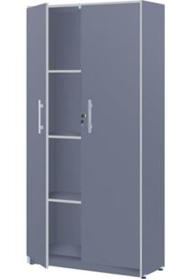 Armário Para Escritório 2 Portas Pop 67Cm Plata Móveis Azul/Cinza