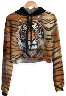 Blusa Cropped Moletom Feminina Over Fame Tigre Md02 - Kanui