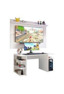 Mesa Para Computador Gamer E Painel Tv Madesa Branco Branco