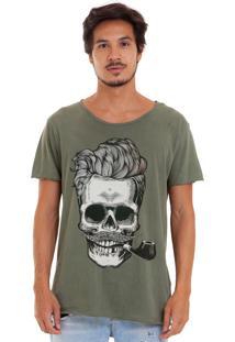 Camiseta Estonada Corte À Fio Joss Caveira Charuto Verde
