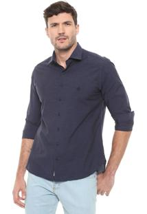Camisa Dudalina Slim Lisa Azul-Marinho