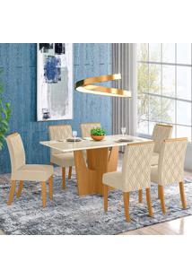 Conjunto De Mesa Com 6 Cadeiras Croácia-Henn - Nature / Off White / Linho