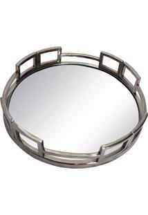 Bandeja Redonda- Pashmina- Aco Polido Com Espelho- Prata - Kanui