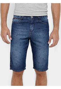 Bermuda Jeans Razon Mini Print Slim Masculina - Masculino