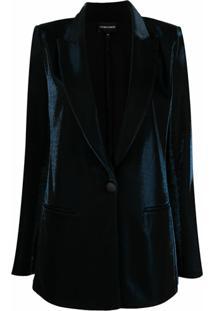 Emporio Armani Blazer De Veludo Com Lapelas - Azul
