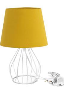 Abajur Cebola Dome Amarelo Mostarda Com Aramado Branco