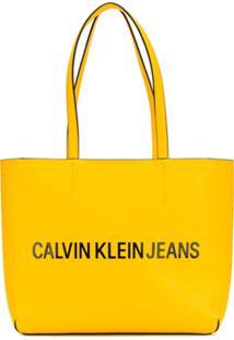 Calvin Klein Bolsa Tote Com Logo - Amarelo