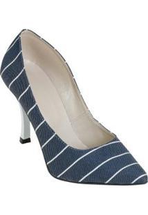Sapato Scarpin Estampa De Listra Jeans E Branco