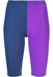 Callipygian Bermuda Bicolor Com Recortes - Azul