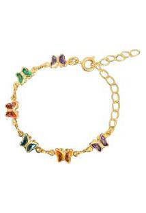Pulseira Borboletinhas Coloridas Narcizza Semijoias Banhado No Ouro - P169(1)