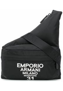 Emporio Armani Bolsa Transversal Com Estampa De Logo - Preto