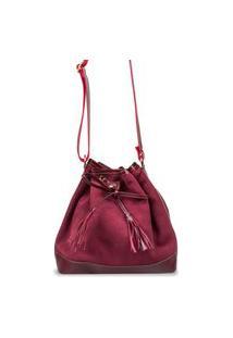 Bolsa Artlux Em Camurça Vermelho
