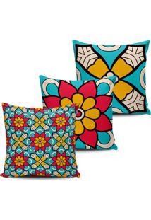 Kit 3 Capas Almofadas Decorativas Floral Azul E Pink 45X45Cm - Tricae