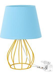 Abajur Cebola Dome Azul Bebe Com Aramado Amarelo - Azul - Dafiti