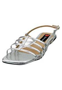 Sandalia Bico Quadrado Love Shoes Salomé Tirinhas Metalizadas Prata
