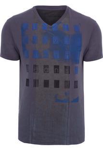 Camiseta Masculina Estampa E Recorte - Cinza