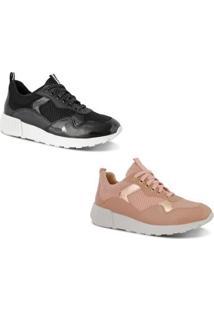 Kit 2 Pares Tênis Prime Shoes Jogger Sneaker Chunky Feminino - Feminino-Preto+Nude
