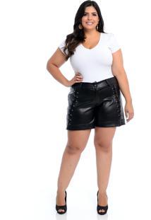 Shorts Preto Plus Size Marileti Imita Couro Trançado