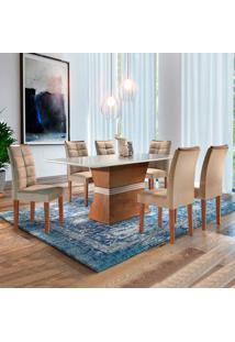 Conjunto De Mesa De Jantar Jade Com Vidro E 6 Cadeiras Villa Rica L Suede Off White E Bege
