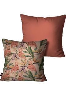 Kit Com 2 Capas Para Almofadas Pump Up Decorativas Laranja Flamingos 45X45Cm - Laranja - Dafiti