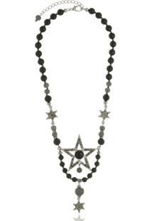 Colar Le Diamond Estrela E Cristais Prateado - Tricae