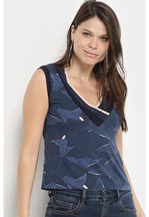 Blusa Maria Filó Estampada Gola V De Tricô Feminina - Feminino-Azul