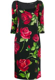 Dolce & Gabbana Vestido Slim Com Estampa Portofino - Preto