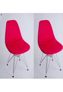 Kit Com 02 Capas Para Cadeira Eiffel Charles Eames Wood Vermelho - Kanui