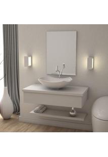 Conjunto Bancada Para Banheiro Com Cuba Abaulada L42 E Prateleira Metrópole 805W Compace Branco Chess