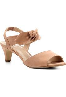 Sandália Couro Shoestock Nobuck Salto Baixo Laço Feminina - Feminino-Nude