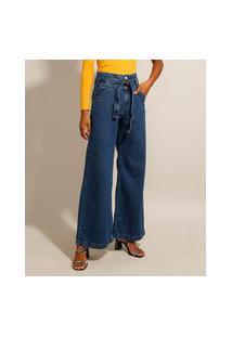 Calça Wide Pantalona Jeans Com Faixa Para Amarrar Cintura Super Alta Azul Escuro