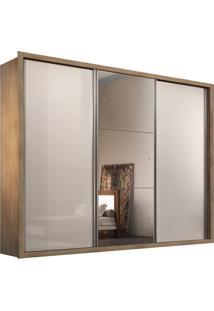 Guarda Roupa Natal 3 Portas C/ 1 Espelho Imbuia/Off White