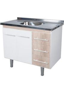 Gabinete De Cozinha Lyon 53X94,4Cm Branco E Madeirado Bonatto