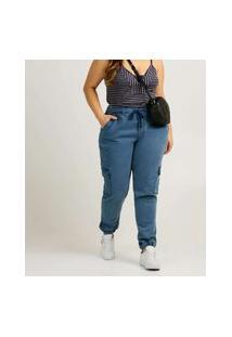 Calça Plus Size Feminina Jeans Jogger Cargo