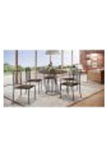 Conjunto De Mesa De Jantar Marrocos Com Tampo Mocaccino E 5 Cadeiras Atos Couríssimo Marrom Escuro