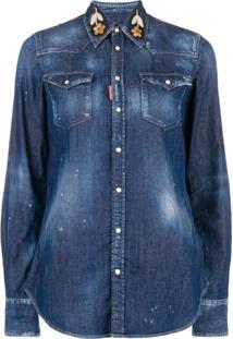 fca38c7555 ... Dsquared2 Camisa Jeans Com Bordado - Azul