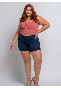 Shorts Liso Almaria Plus Size Shyros Jeans Azul